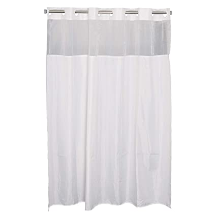 Amazon KAMSPARK Fabric Shower Curtain Hookless With Mesh Panel