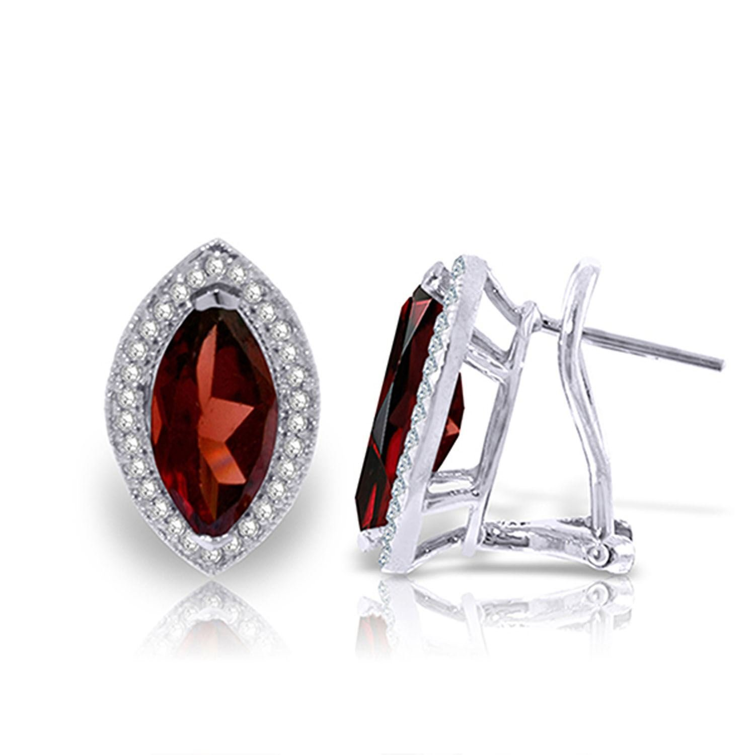 ALARRI 4.3 Carat 14K Solid White Gold Love Cure Garnet Diamond Earrings