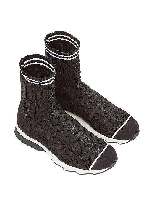 ddfad7ae51d9 Fendi Femme 8T6515od8f0kjr Blanc Noir Viscose Baskets  Amazon.fr   Chaussures et Sacs