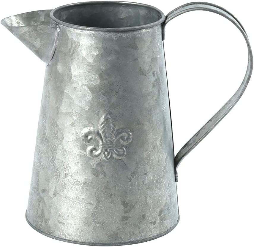 "WHHOME Silver Shabby Chic Watering Can Galvanized Finish Metal Vase Primitive Jug Country Rustic Pitcher Decorative Flower Holder, 7.3"" H"