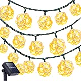 Image of Solar String Lights Outdoor,Oak Leaf 19.7 ft 30 LED Rattan Ball LED Fairy Lights for Outdoor Garden Backyard Patio Party,Warm White, 2 Modes
