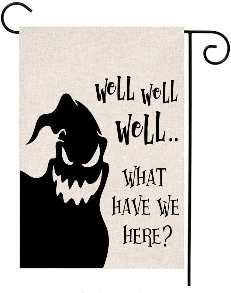 MFGNEH Well Well Well..What Have We Hear?Double Sided Waterproof Halloween Decorations Ghost Garden Flag Burlap Yard Lawn Outdoor Decor 12 x 18 Inch,Halloween Garden Flag