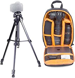 VCT 668 Video Tripod with Damping Head Fluid Pan and BP 02 SLR/DSLR Camera Backpack for Canon Nikon Sony