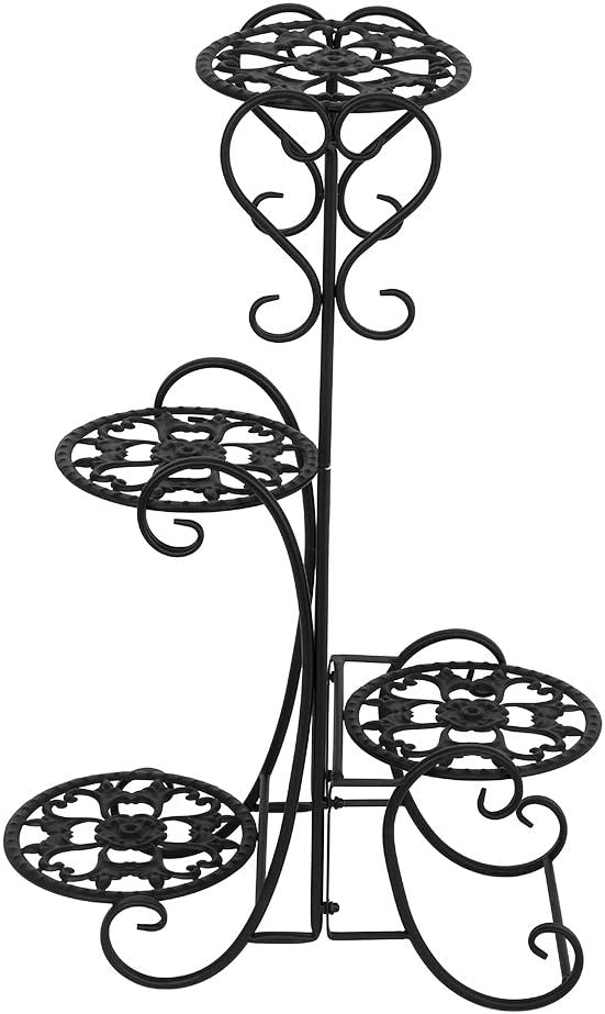 Metal Plant Stand Flower Holder,4 Tiers Wrought Iron Round Planter Rack Shelf, Suitable for Indoor and Outdoor Family Garden Terrace Balcony Yard (Black)