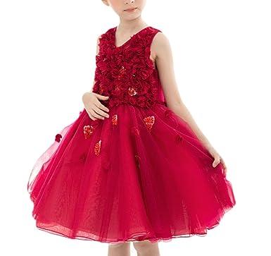 MDSNFH Prinzessin Kleider Mädchen Kleider Red Brautkleider Kinder ...