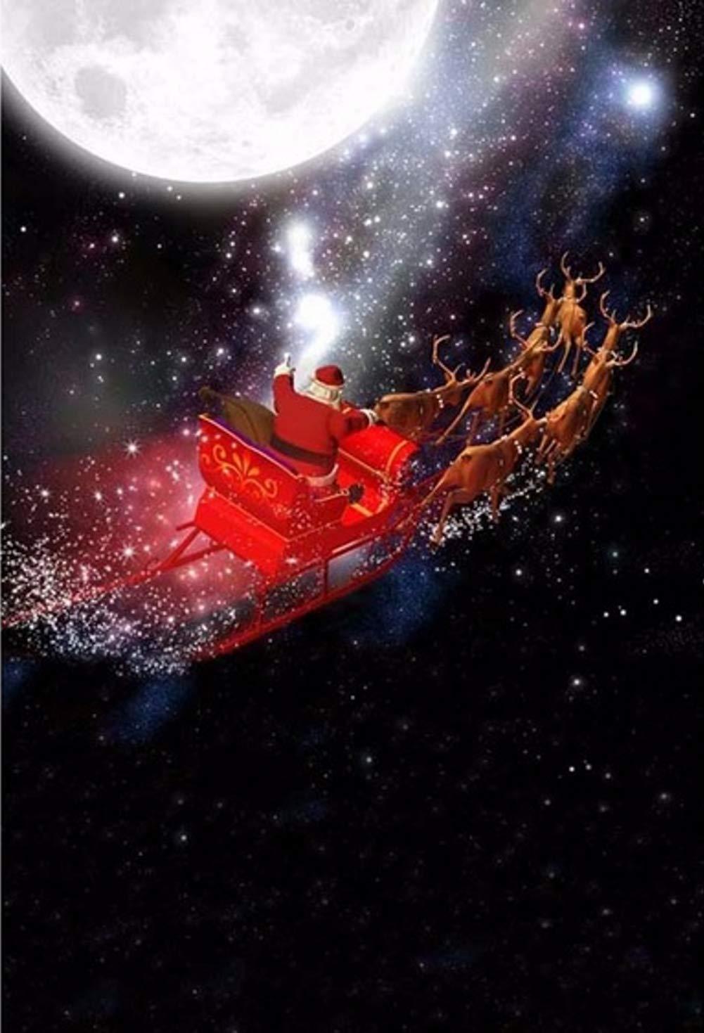 Gardenia 5x7フィート クリスマス 背景 写真 背景 サンタクロース ライド トナカイ クリスマス 街 満月 夜 雪 空 夢 雪の結晶 冬 祭り 年背景   B07K9S3YYP