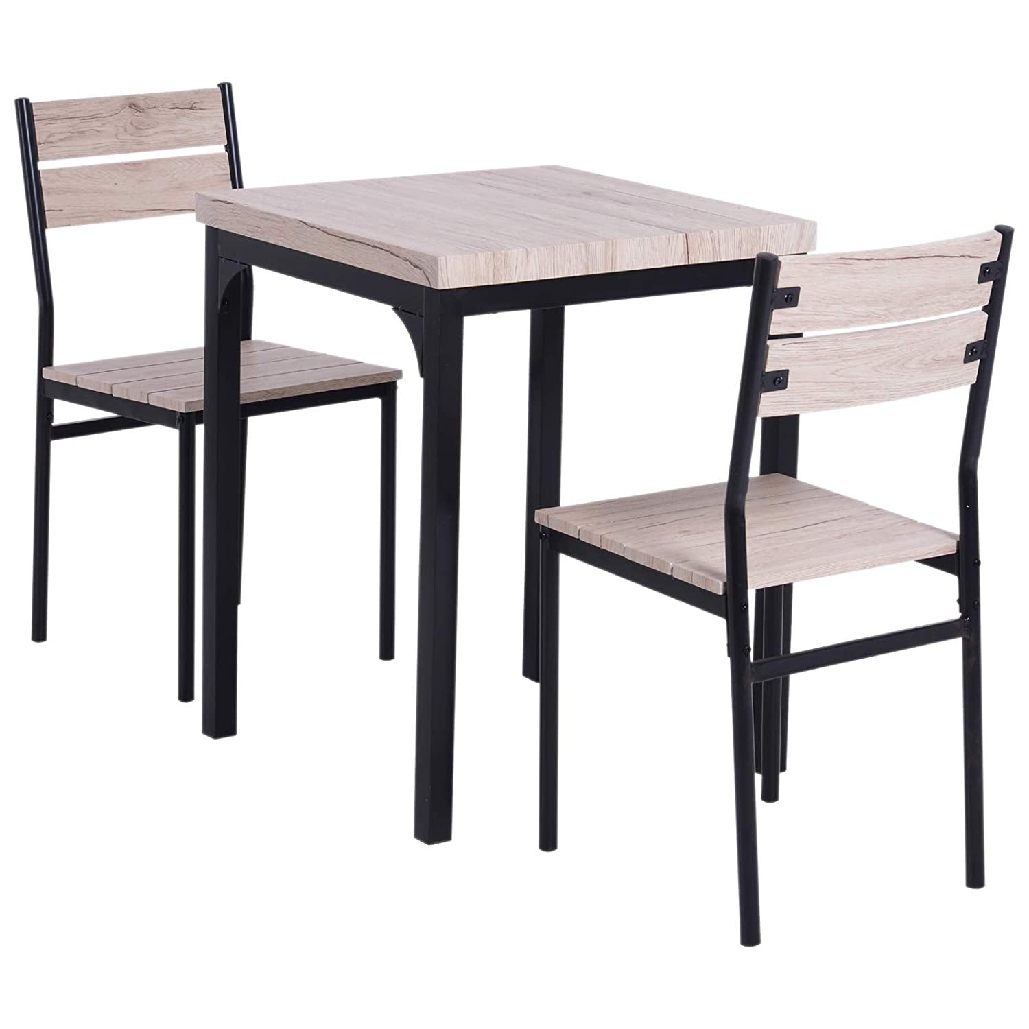 Homco Rustic Country Wood Top 3 Piece Kitchen Table Dining Set w/Chairs