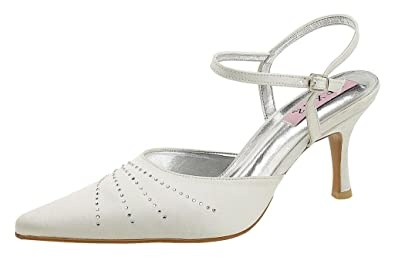 7fbc83de538 Ladies Bridal closed toe shoe with diamante trim  Amazon.co.uk ...