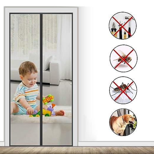 AMCER Mosquitera Magn/ética para Puertas Bueno para Ni/ños y Perros Mosquitera Magn/ética para Puertas Cortina de Fibra de Vidrio de Primera Calidad F/ácil de Instalar 39x82inch Negro 100x210cm