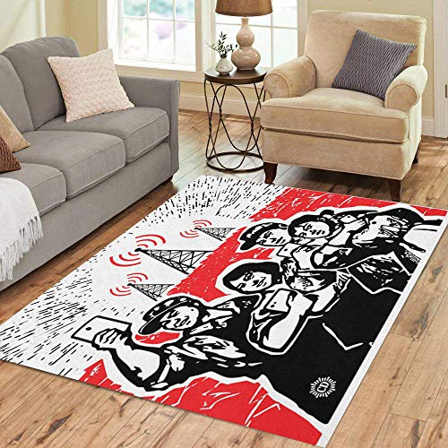 Pinbeam Area Rug Red Digital Culture Parody Cultural Revolution in China Home Decor Floor Rug 3' x 5' Carpet