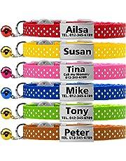TagME Collares de Gato Personalizados con Placa de Nombre/Collares de Perro pequeños con Nombre, número de teléfono, número de Microchip/Patrón de Polca/Verde