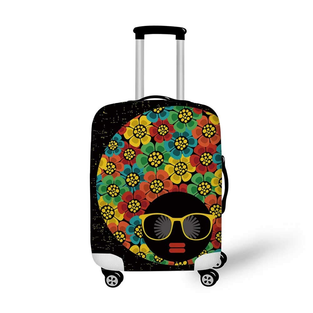 70s Party Decorations Stylish Luggage Cover,Abstract Woman Portrait Hair Style with Flowers Sunglasses Lips Graphic Decorative for Luggage,M 19.6W x 28.9H