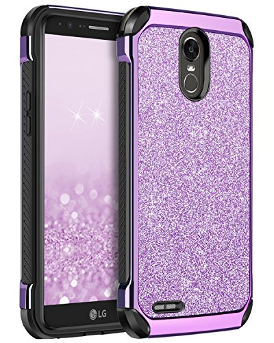 LG Stylo 3 Case, LG Stylo 3 Plus Case, LG Stylus 3 Case, BENTOBEN 2 in 1 Luxury Glitter Bling Hybrid Sparkly Faux Leather Chrome Protective Phone Case for LG Stylo 3/Stylo 3 Plus/LG LS777, Purple
