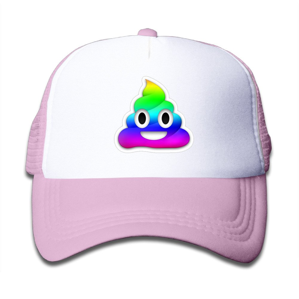 Kids Rainbow Smiling Poop Emoji Trucker Mesh Baseball Cap Hat Trucker Hats Pink