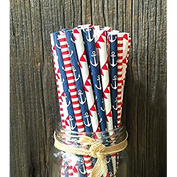 Anchor, Sailor Themed Party Paper Straws 7.75 Inches 75 Pack Red, White, Blue