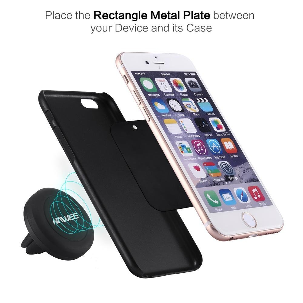 Pack of 2 S6 Edge Galaxy S7 6S 6 HAWEE Universal Cell Phones Air Vent Mount Magnetic Car Cradle Quad Magnet Core Car Dash Mount Mobile Device Holder for iPhone 7