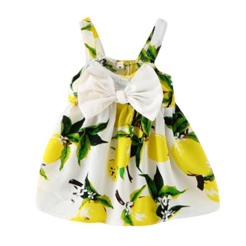 Brightup Bambini bambino estate vestito stampato con fiocco 3-36 mesi Abito bambina senza maniche per il partito o indossare casual