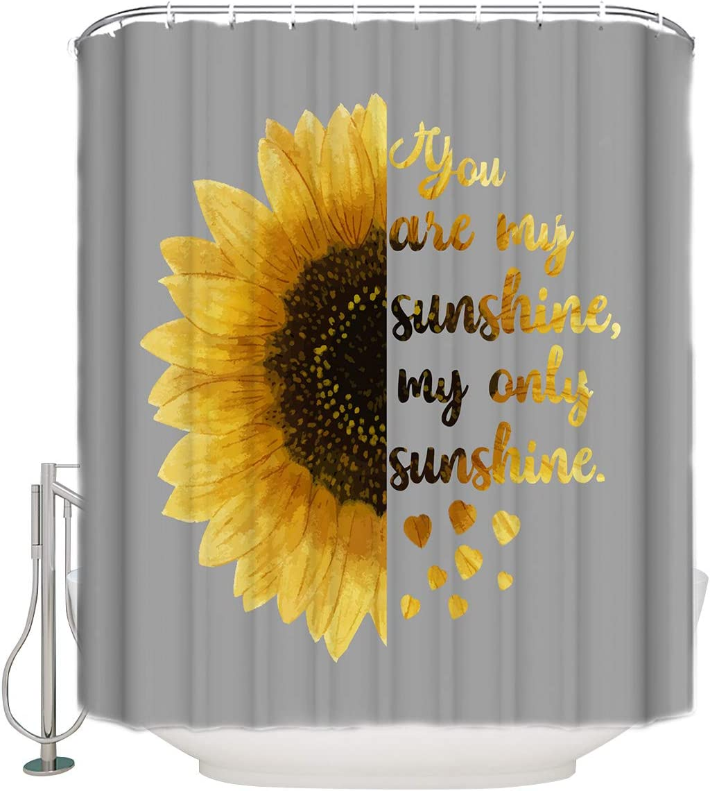 TocaHome Shower Curtain for Bathroom,You are My Sunshine,My Only Sunshine  Cloth Fabric Bathroom Decor Set with Hooks Standard Size 8x8 Inch