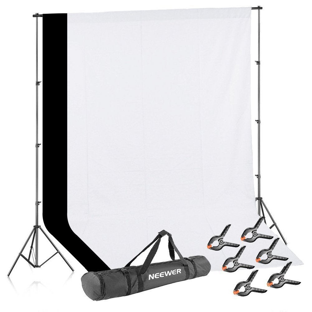 Neewer Lighting Studio Background Kit Includes: 8.5x10 feet Backdrop Stand Support System,2 Pieces 6x9 feet Black and White Cotton Backdrop, 6 Pieces Clamps and Carrying Case for Product Photography by Neewer