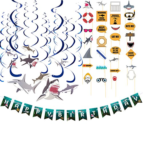 Blue Panda Happy Birthday Decorations – Shark Party Decorations, Includes 1 Birthday Banner, 15-Count Swirl Decorations, 21-Count Photo Booth Props, 3-in-1 Pack Happy Birthday Party Supplies -