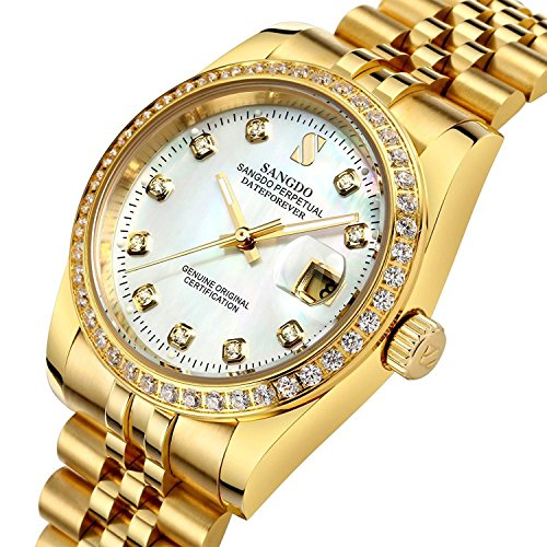Mens Diamond Accented Bezel and Luminous Dial 18K Gold Plated Watch Waterproof Automatic Mechanical Watch (Gold White) ()