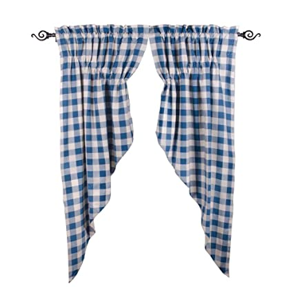 Home Collections by Raghu 72x63 (2 pcs), Colonial Blue and Buttermilk Buffalo Check Gathered Swag