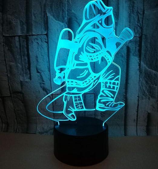 Ilusión 3D Luces Nocturnas Buzo 7 lámparas de mesa táctiles ...