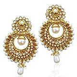 Traditional Indian Artisan Jewelry Kundan Faux Pearl Polki Dangler EarringsABEA0268WH