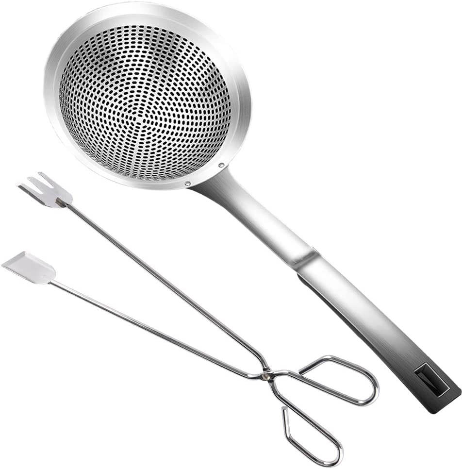 Super Leader 2 pieces Multi-functional Hot Pot Fat Skimmer Spoon - Stainless Steel Fine Mesh Food Strainer for Everyday Frying Steaming and Scooping,Skimming Grease and Foam (Big Hole)