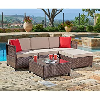 AmazoncomSuncrown Outdoor Furniture Sectional Sofa Set 6