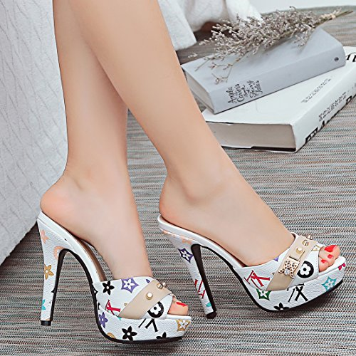 AIYOUMEI Women Stiletto High Heels Peep Toe Platform Sandals Studded Sliders Slip On Slippers White kw1PlNBf18