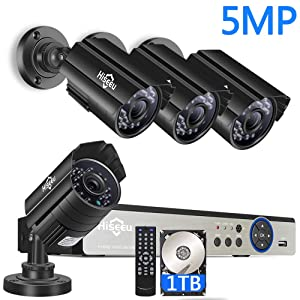 【5MP 8CH】 H.265+ Security Camera System,4Pcs 5MP AHD Cameras+Expandable 8CH DVR,Phone&PC Remote Viewing,Motion Alert,Night Vision,IP66 Waterproof,24/7 Record,Easy Setup,1TB Hard Drive