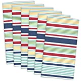 "DII 100% Cotton, Oversized Basic Everyday 20x 20"" Napkin, Set of 6, Surf Stripe"