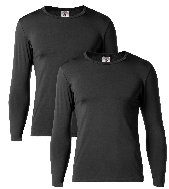 LAPASA Camiseta Térmica, Pack de 2 Manga Larga para Hombre. -Brushed Back Fabric