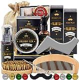 Beard Kit for Men Grooming & Care W/Beard Wash/Shampoo,Unscented Beard Growth Oil,Beard Balm Leave-in Conditioner,Beard Comb,Beard Brush,Beard Scissor 100% Natural & Organic for Beard Care