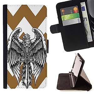 King Case - FOR Apple Iphone 6 PLUS 5.5 - Mighty wings - Prima caja de la PU billetera de cuero con ranuras para tarjetas, efectivo Compartimiento desmontable y correa para la mu?eca