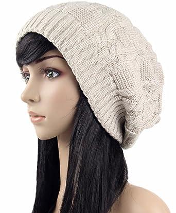 ab9f5a0d09222 Imily Bela Women s Pile Knitted Cap Hat Bonnet Winter Knit Crochet Ski Hat  at Amazon Women s Clothing store