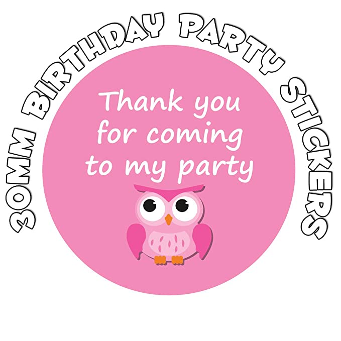 35x Personalised Owl  Birthday Labels Sticker Party sweet cone bags