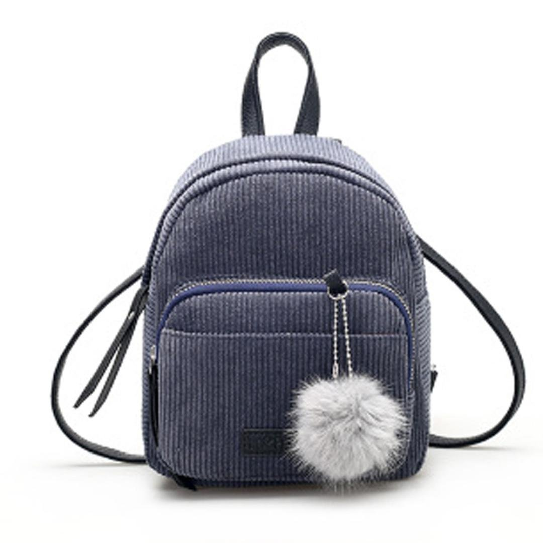 Womens Leather Corduroy Backpack Casual Style Flap Backpacks Daypack for Ladies (Gray)