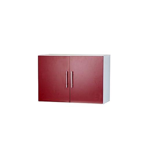 Symbiosis Element de cuisine-Haut-2 portes-Corps blanc-façade rouge/8011A2179A80