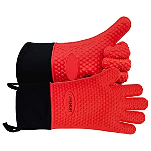 GEEKHOM Grilling Gloves, Heat Resistant Gloves BBQ Kitchen Silicone Dutch Oven Mitts, Long Waterproof Non-Slip Potholder for Barbecue, Pizza, Cooking, Baking(Red)