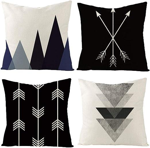 Amazon.com: IcosaMro Throw Pillow Covers Blue Black and White