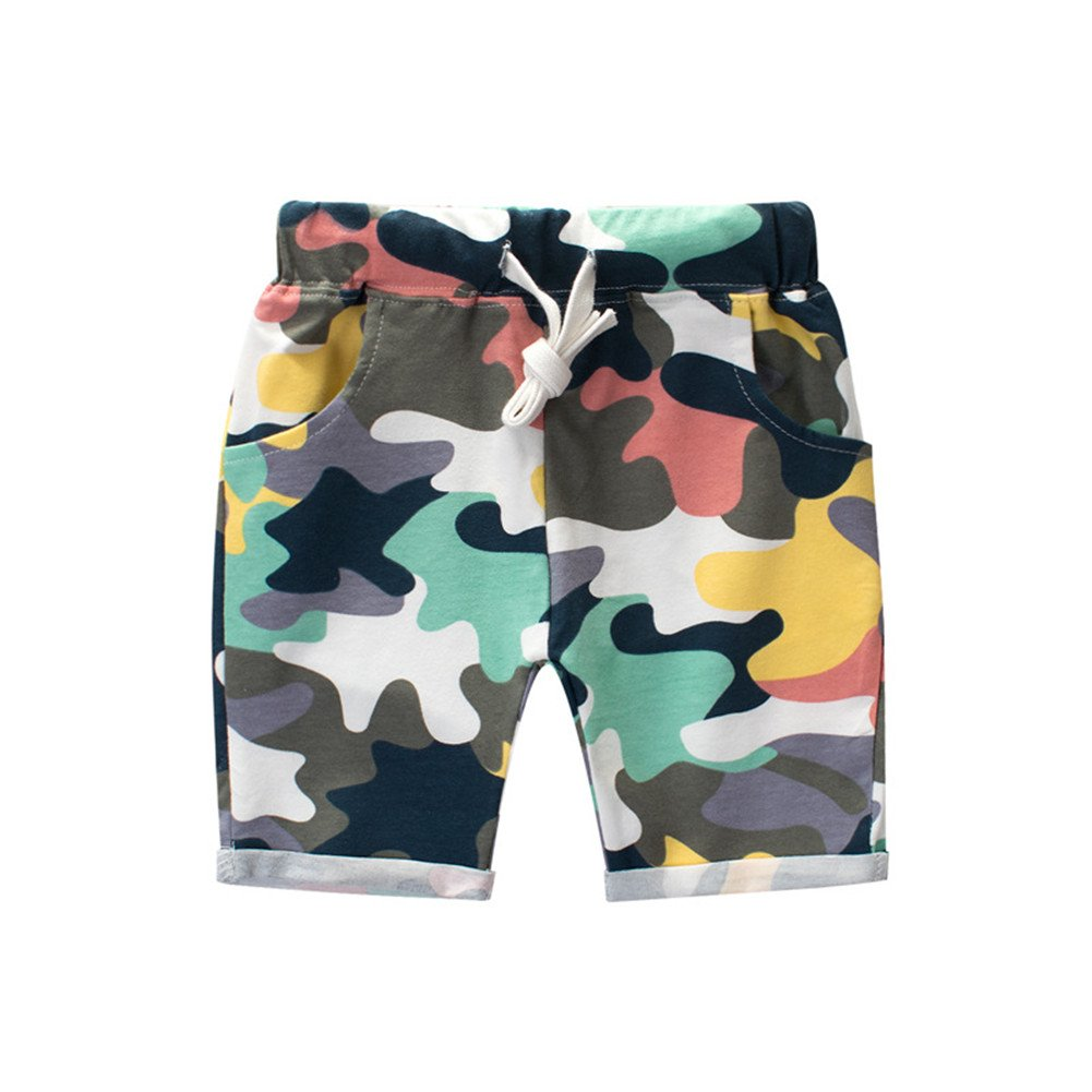 FTSUCQ Boys Cartoon Short Sleeve Shirt Top With Camo Shorts Two-Pieces Sets