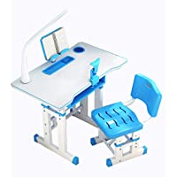 US Fast Shipment 70cm Modern Study Desk Children's Combined Study Table Plastic Work Table Can Be Raised and Lowered -Workstation-Students Study Writing Desk Wood Table (Blue)