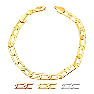 a213425055112 Amazon.com: Thin Chain Link Bracelet 18K Gold Plated Chic Cuban ...