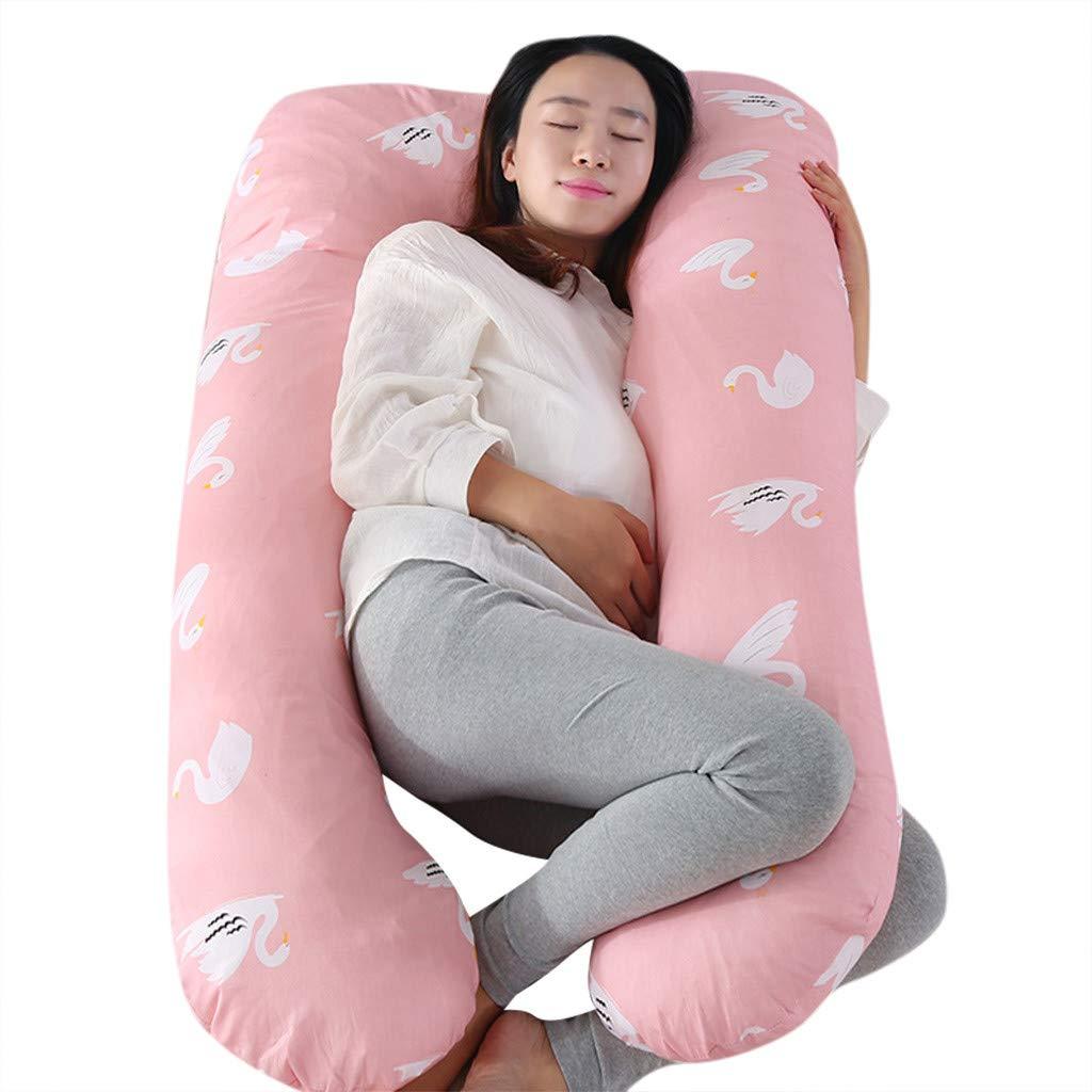 Rose, 1.92x54x54cm Makalon Coussin De Maternit/é en Cotton en Forme De U,Coussin Lombaire Confortable,Coussin De Grossesse pour Dormir