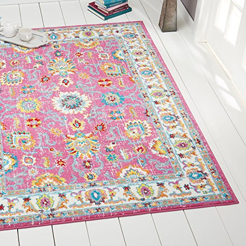 Hot Pink Ivory Modern Traditional Oriental 5x7 Area Rug Bordered Vines Floral Carpet - Actual 5'2