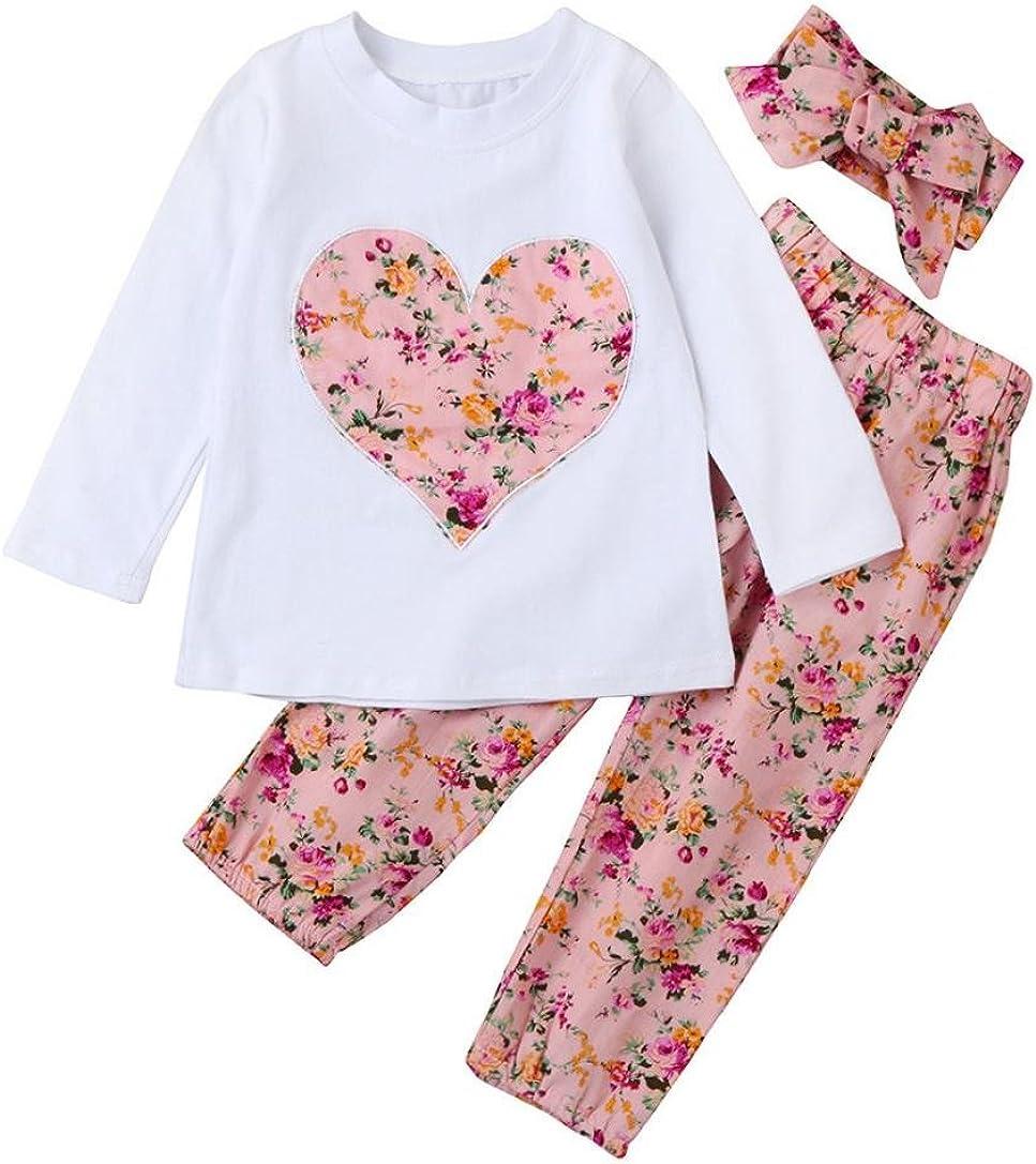 Ropa Bebe Ni/ña Invierno Oto/ño de 0 a 24 Meses Smartlady Beb/é Ni/ñas Camisetas de Manga Larga y Pantalones de Flores Vendas de Pelo Conjunto de Ropa