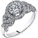 14k White Gold Cubic Zirconia Engagement Ring 1.00 Carat Center Halo Style Size 7