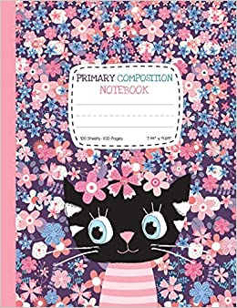Primary Composition Notebook: Half Ruled Half Blank Cute Cat Draw